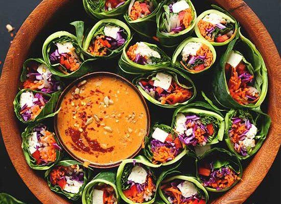 Collard Green Spring Rolls + Sunbutter Dipping Sauce